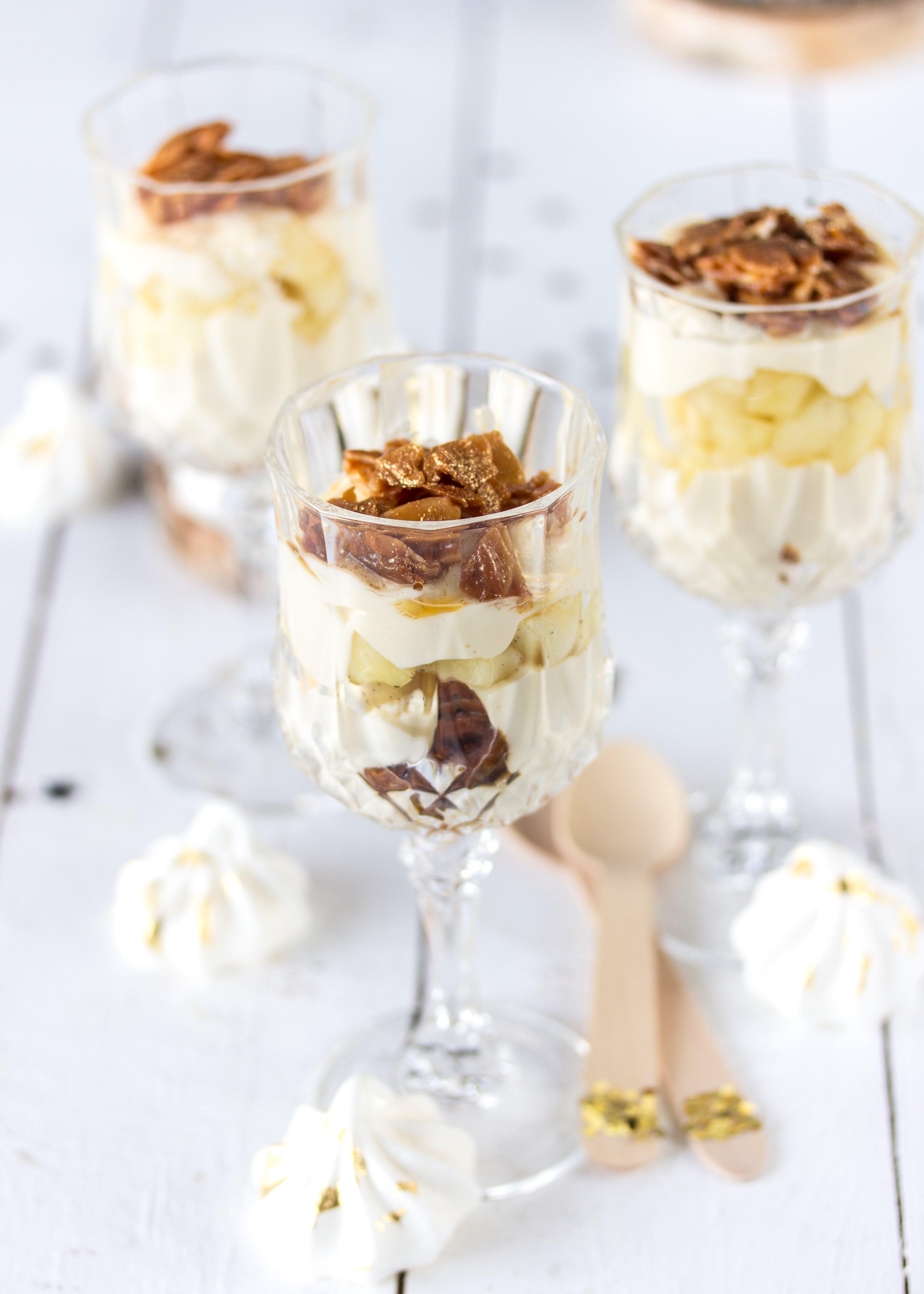 Silvester Dessert: Apfel Bienenstich im Glas Rezept einfach lecker