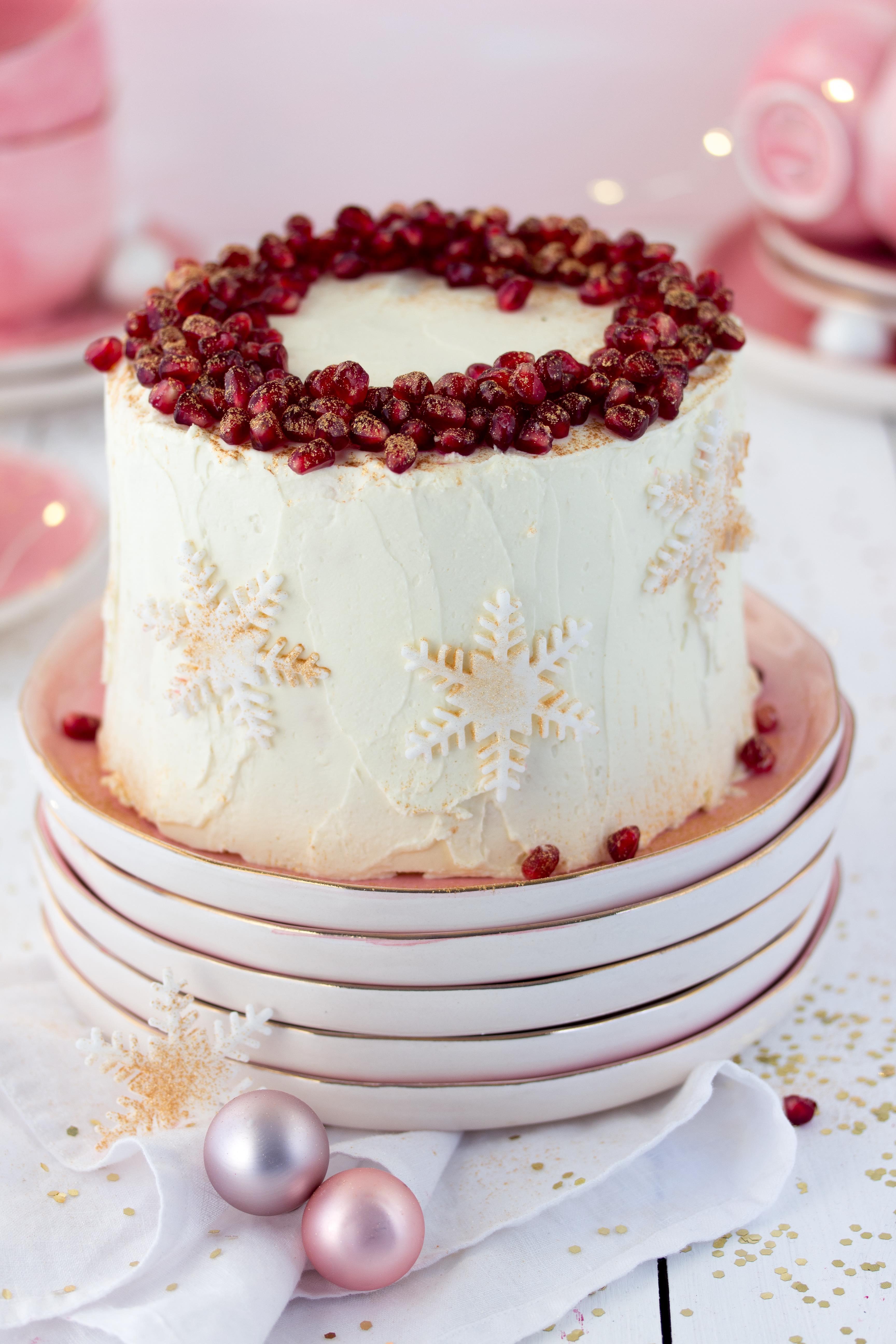 Rezept Mango Preiselbeere Wickeltorte Torte Weihnachten Granatapfel