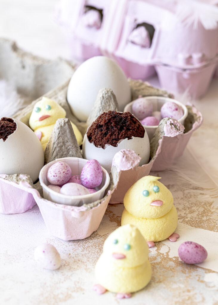 chokokuchen im Ei / in echter Eierschale zum Verschenken. Schokolade backen Oster Ostergeschenke Emmas Lieblingsstücke