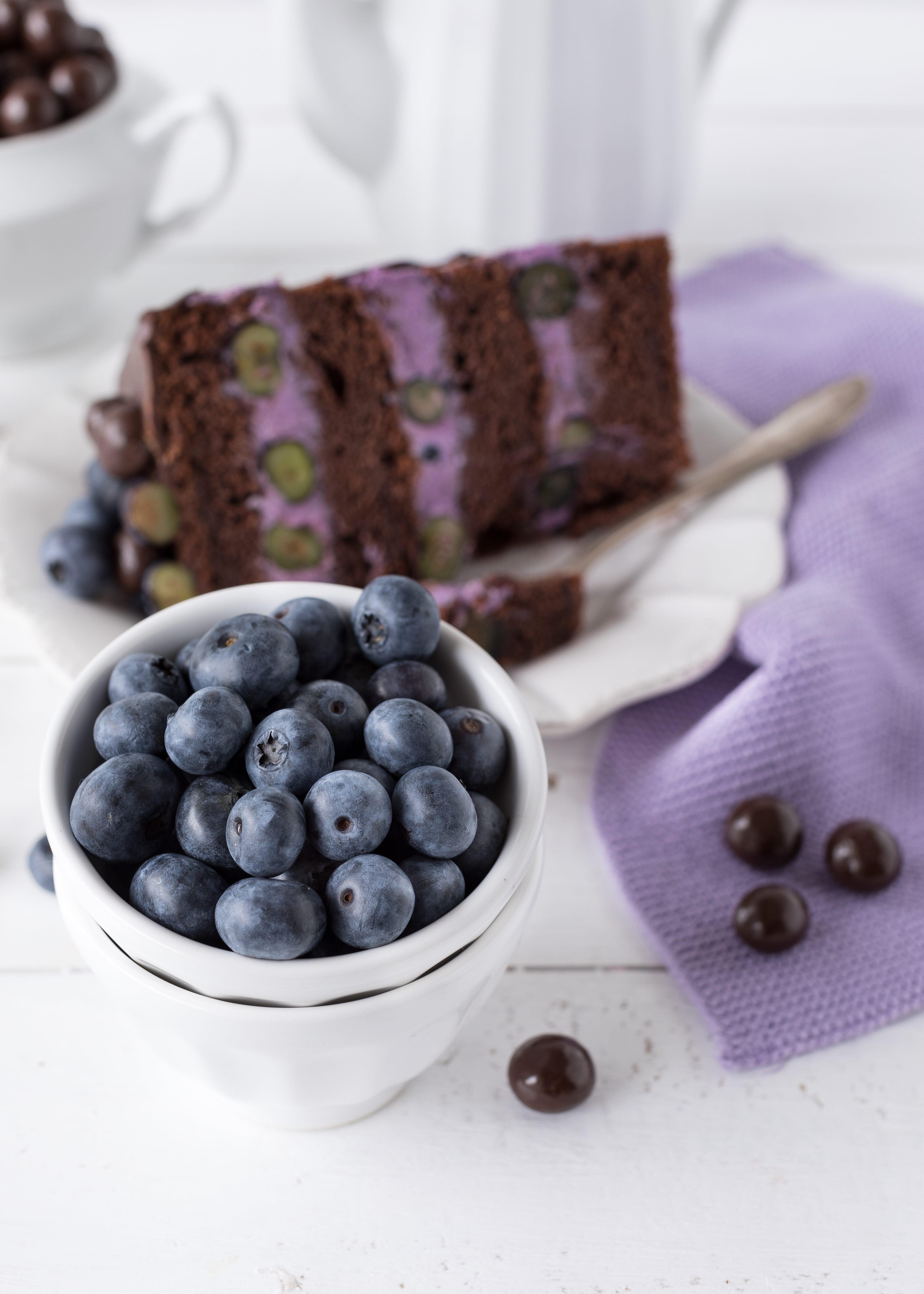 Blaubeer Schoko Layer Cake mit Schokoladen, Heidelbeeren und Schoko Drip backen Emmas Lieblingsstücke