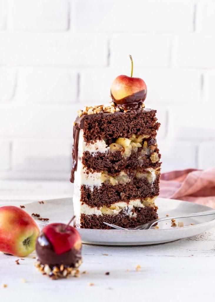 Bratapfel Drip Cake Rezept Schokolade Ganache Apfel Backen Torte