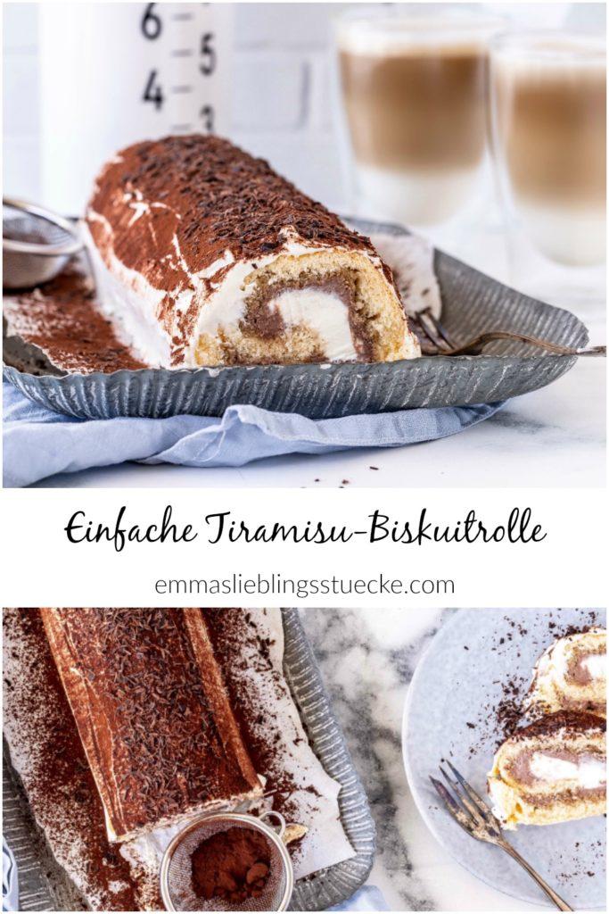 Rezept schnelle Tiramisu Biskuitrolle Kaffee Schokolade