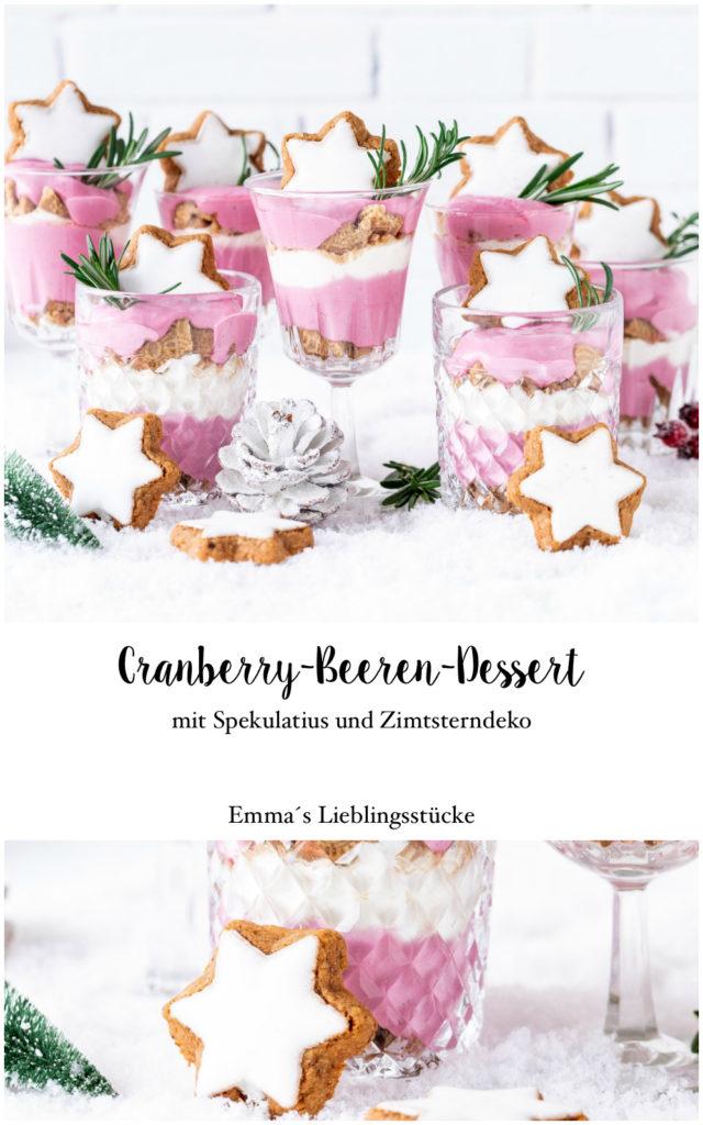 einfaches Rezept für Canberra Beeren Spekulatius Dessert #dessert #weihnachten #christmas #cranberry #schichtdessert #dessertinajar