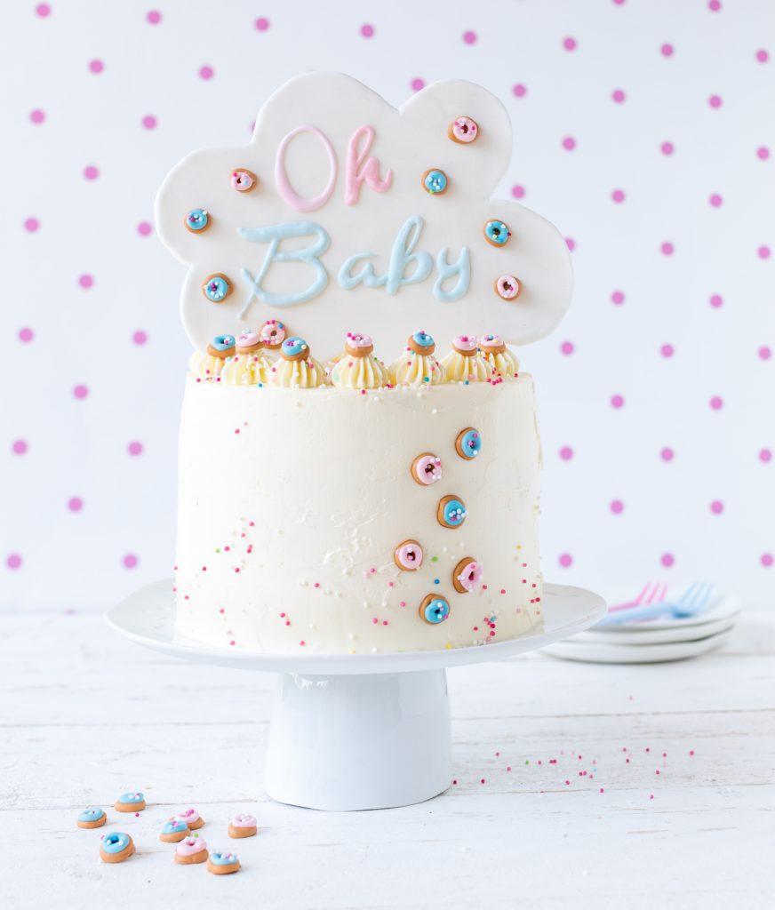Gender Reveal Cake Torte Baby ShowerBacken Backbuch Fondant Rezept Anleitung Tutorial Emma's Lieblingsstücke