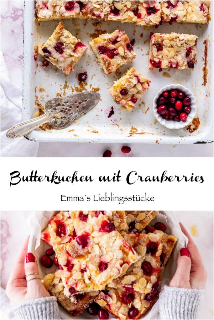 Saftiger Butterkuchen Rezept mit Cranberries Hefe Hefeteig backen Blechkuchen Kuchen Cranberry #hefe #butterkuchen #sheetcake #blechkuchen #cake #yeast #cranberry | Emma´s Lieblingsstücke