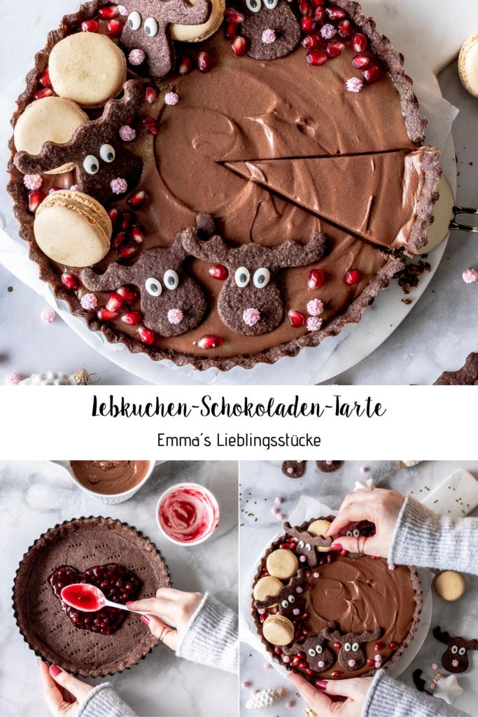 Lebkuchen Schokoladen Tarte Rezept mit Elchen und Preiselbeeren Gingerbread Tarte zu Weihnachten backen Schokomousse  #tarte #Schokolade #elche #mousse #christmas #weihnachten Emmas Lieblingsstücke