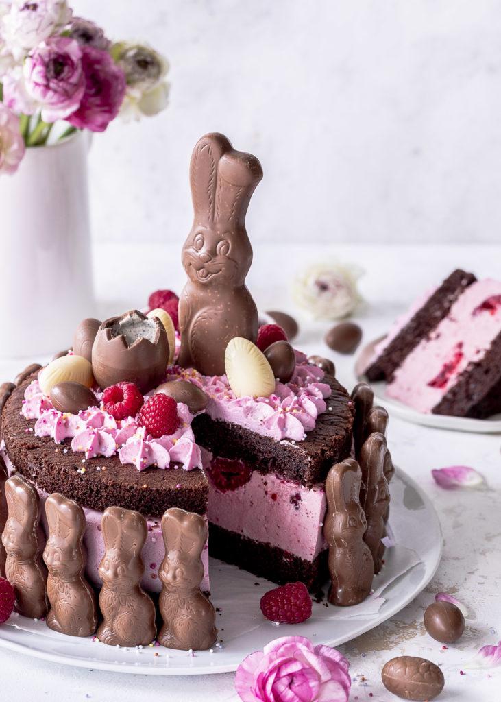 Schokohasen Brownie Himbeertorte zu Ostern backen Emmas Lieblingsstücke