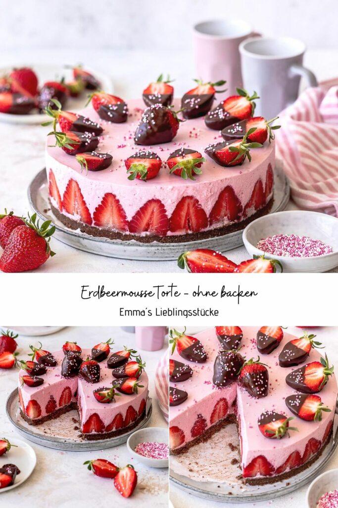 Erdmousse Torte ohne backen Köstliches Kühlschrank Torten Rezept mit Erdbeeren #erdbeeren #nobake Emmas Lieblingsstücke