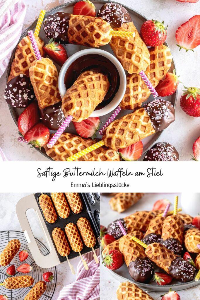 Einfaches Rezept für Buttermilch Waffel Lollies Perfekt für die nächste Waffelparty zuhause Emmas Lieblingsstücke