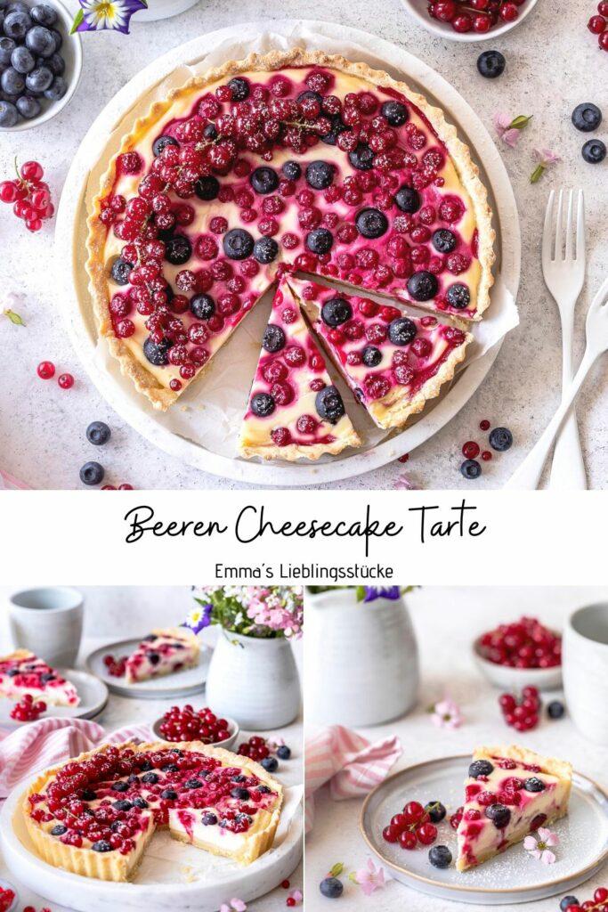 Cremige Beeren Cheesecake Tarte mit Johannisbeeren, Blaubeeren und Holunderblütensirup backen. Ein einfaches und köstliches Rezept. Emmas Lieblingsstücke