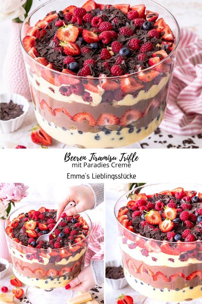 Super einfaches Beeren Tiramisu Trifle Rezept mit Paradies Creme. Ein wirklich schnell gemachtes und total cremiges Dessert für die nächste Party. Emmas Lieblingsstücke