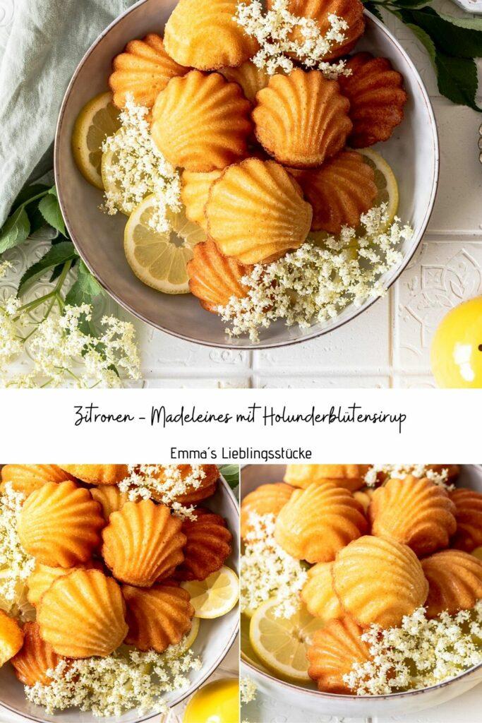 Einfaches Rezept für Zitronen Madeleines mit Holunderblütensirup. Kleingebäck ganz einfach selber backen. Emmas Lieblingsstücke
