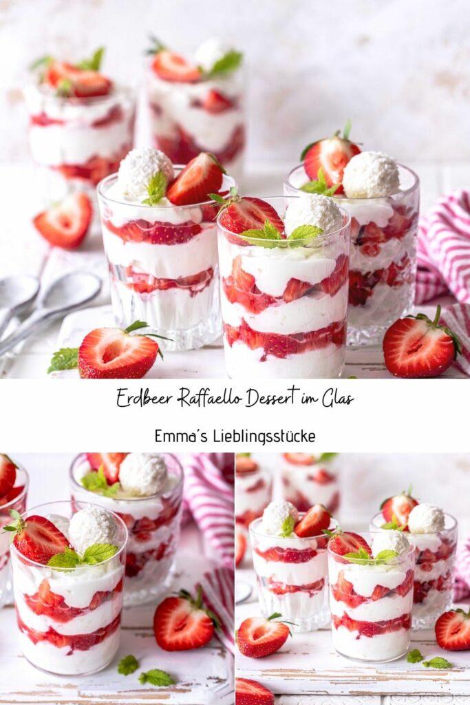 Einfaches Erdbeer Raffaello Dessert im Glas. Ein köstliches Dessert mit Kokos, Erdbeeren, Quark und Mascarpone. #Kokos #Raffaello #Dessert Emmas Lieblingsstücke