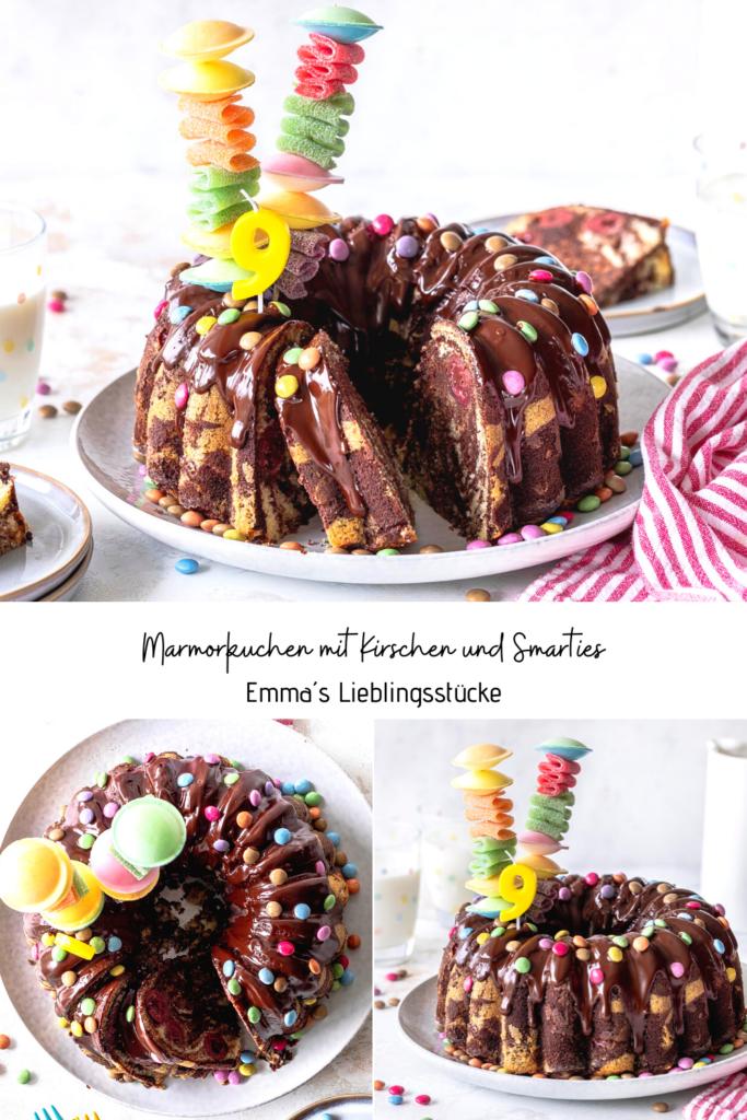 Marmorkuchen mit Kirschen und Smarties. Perfekt für den nächsten Kindergeburtstag. Ein saftiges Kuchenrezept mit Schokoladenglasur.