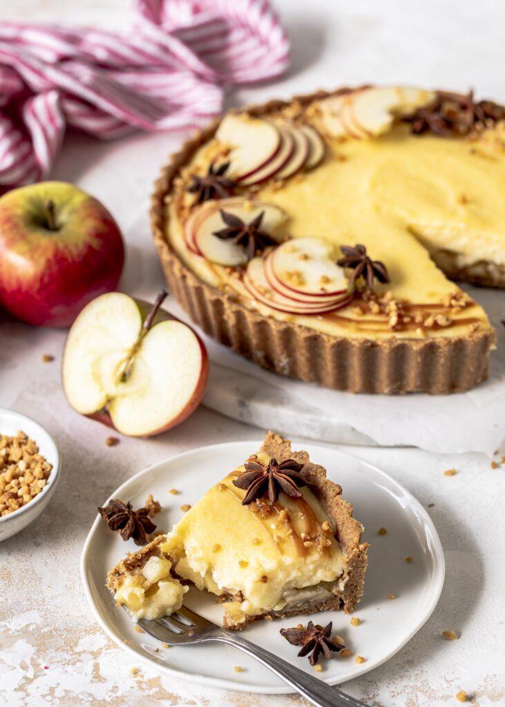 Apfel-Grieß-Pudding-Tarte Rezept - ohne backen - ganz einfach zu machen. # DrOetkerDeutschland, # QualitätistdasbesteRezept# EinfachGanzBesonders#Seelenwärmer #apfeltarte #tarte #herbst Emmas Lieblingsstücke
