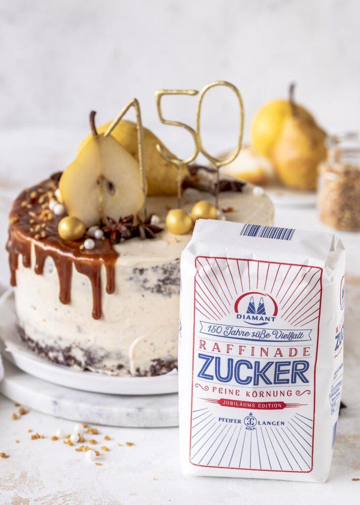 Rezept für eine Birnen Karamell Käsekuchen Torte mit Diamant Zucker #diamantzucker #happybirthdaydiamant # 150JahresüßeVielfal #echtZucker Emmas Lieblingsstücke