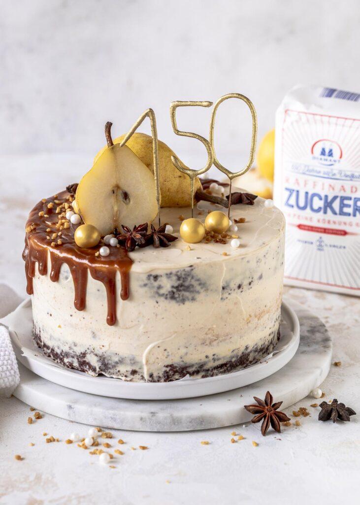 Rezept für eine Birnen Karamell Käsekuchen Torte mit Diamant Zucker  #diamantzucker#happybirthdaydiamant #150JahresüßeVielfalt  #echtZucker Emmas Lieblingsstücke