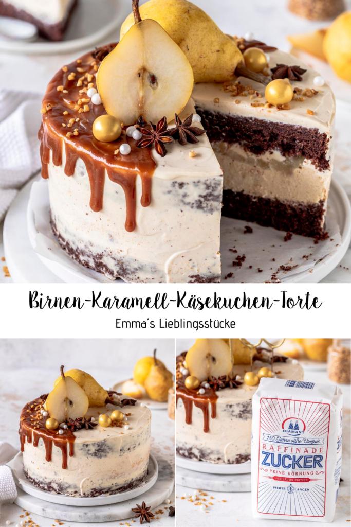 Rezept für eine Birnen Karamell Käsekuchen Torte mit Diamant Zucker #diamantzucker #happybirthdaydiamant #150JahresüßeVielfalt #echtZucker Emmas Lieblingsstücke