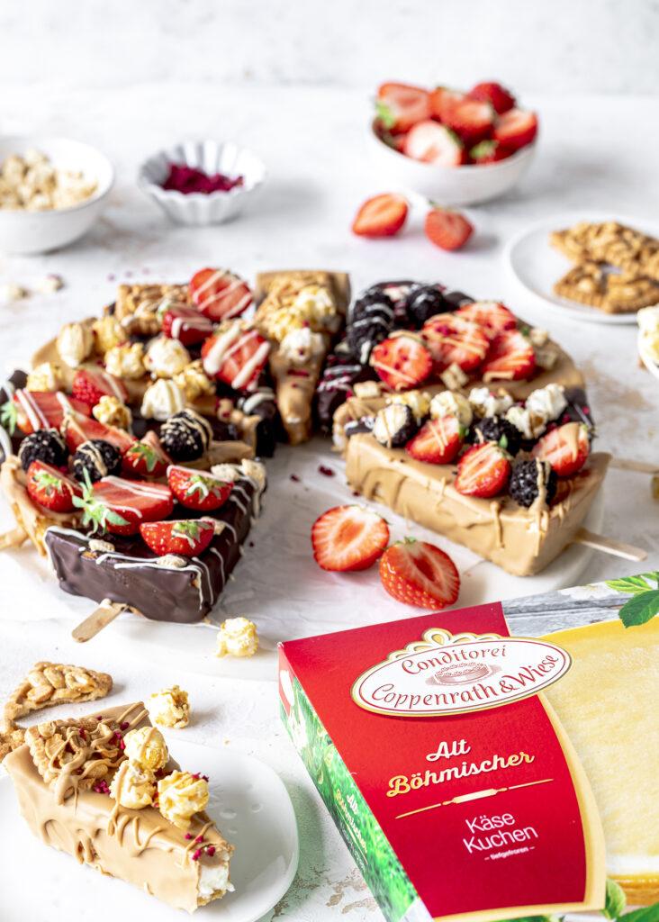 Cheesecake on a stick / Cheesecake Sticks / Käsekuchen am Stiel ganz einfach selber machen lecker, einfach und cool Emmas Lieblingsstücke